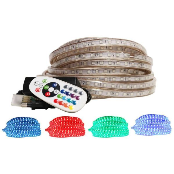 220V RGB LED Strip Light With Power Supply, Remote & End Caps, 10 Metres