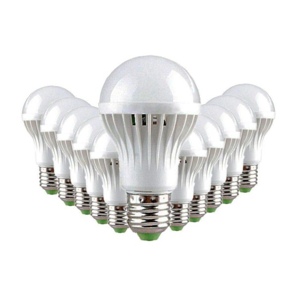 7W LED Light Bulb (Equiv 60W), E27 Screw, Cool White, Pack Of 12