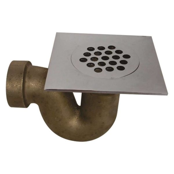 Brass Square Shower Trap, Chrome Plated Top