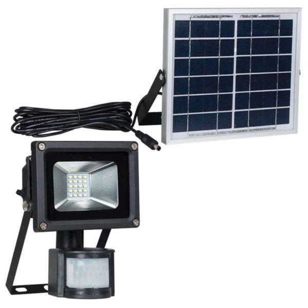BRIGHT STAR 10W Solar LED Floodlight With PIR Sensor, FL076, 6000K, 600Lm, Black