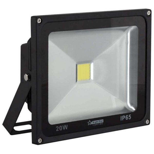 BRIGHT STAR 20W LED Floodlight, FL041, Aluminium, 6000K, 1600Lm, Black