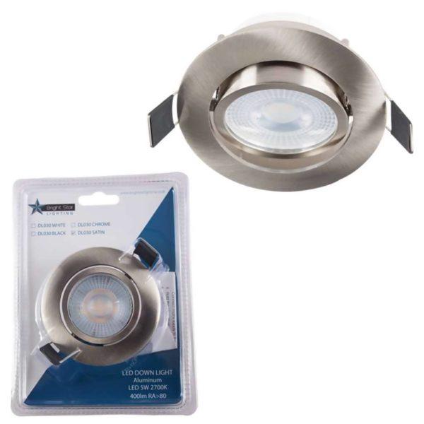BRIGHT STAR 5W LED Tilt Downlight And Bulb DL030, 2700K, 400Lm, Chrome