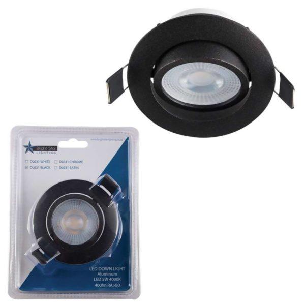 BRIGHT STAR 5W LED Tilt Downlight And Bulb DL031, 4000K, 400Lm, Black