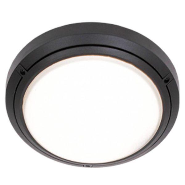BRIGHT STAR BH058 Black Round Bulkhead, 1 x 60W, E27, PVC, Die Cast Aluminium