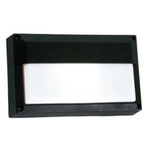 BRIGHT STAR BH074 Black Bulkhead With Lip Cover, 15W, E27, Die Cast Aluminium