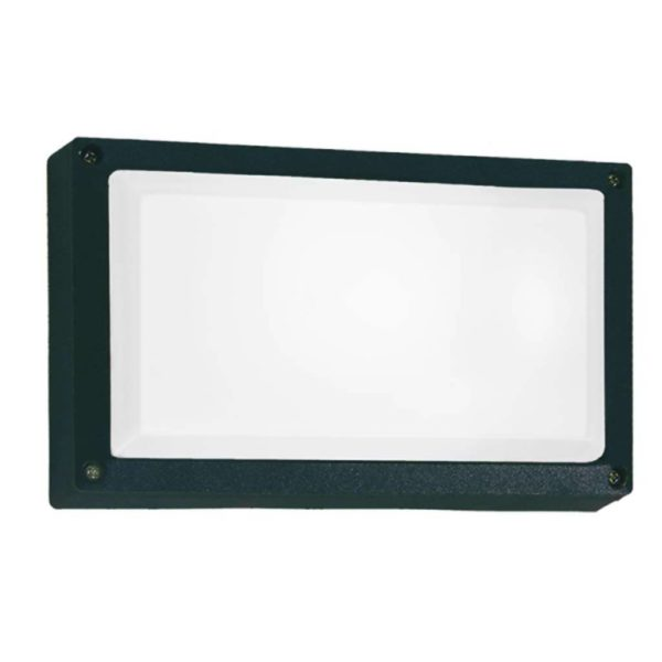 BRIGHT STAR BH075 Black Rectangle Bulkhead, 15W, E27, Die Cast Aluminium