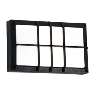 BRIGHT STAR BH076 Black Bulkhead With Grid Cover, 15W, E27, Die Cast Aluminium