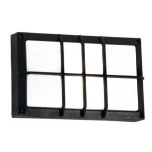 BRIGHT STAR BH076 Black Bulkhead With Grid Cover, 15W, E27, Die Cast Aluminium