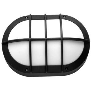 BRIGHT STAR BH090 Matt Black Oval Bulkhead With Cage Cover, 11W, E27, Die Cast Aluminium