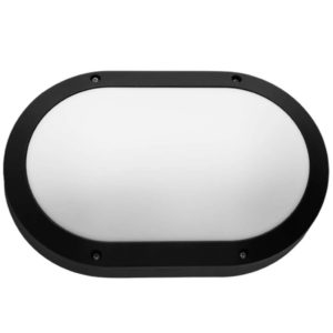 BRIGHT STAR BH091 Matt Black Oval Bulkhead, 11W, E27, Die Cast Aluminium