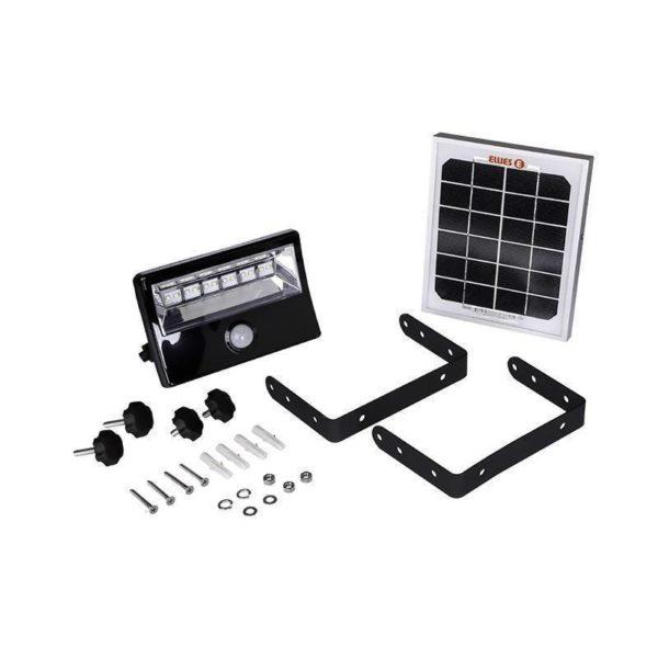 Ellies Rechargeable Solar LED Flood Light With PIR Infrared Sensor, 8W, 600 Lumen, IP65