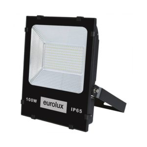 EUROLUX 100W LED Floodlight, 6500K, Black