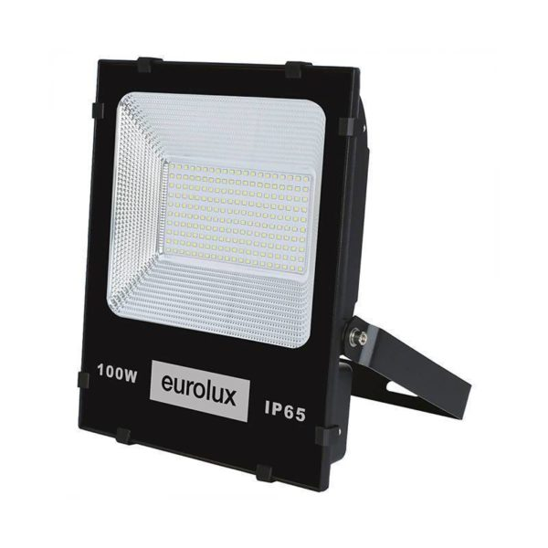 EUROLUX 100W LED Floodlight, 6500K, Black