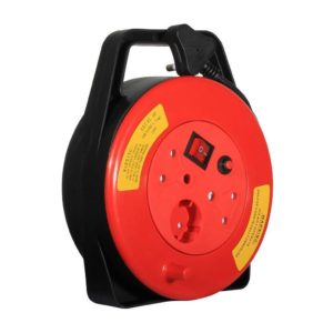 EUROLUX 10m Closed Extension Reel, 2800W, 1 x 5A Schuko, 2 x 16A, Red