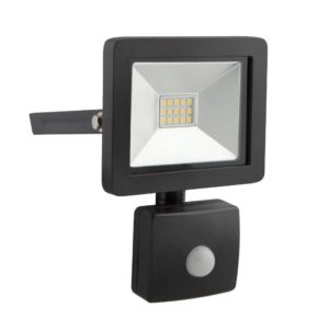 EUROLUX 10W LED Floodlight With Motion Sensor, 4000K, Black