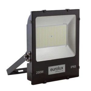 EUROLUX 200W LED Floodlight, 6000K, Black