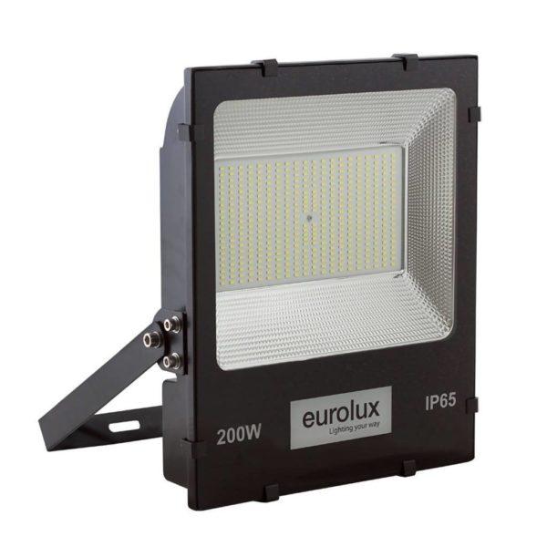 EUROLUX 200W LED Floodlight, 6000K, Black