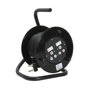 EUROLUX 20m Extension Reel, 2 x 10A, Black