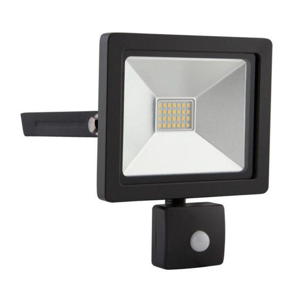 EUROLUX 20W LED Floodlight With Motion Sensor, 4000K, Black