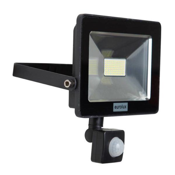 EUROLUX 20W LED Floodlight With Motion Sensor, Black