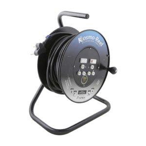 EUROLUX 30m Extra Strong Steel Extension Reel, 2 x 16A, Black