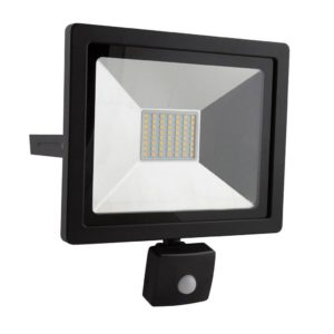 EUROLUX 30W LED Floodlight With Motion Sensor, 4000K, Black