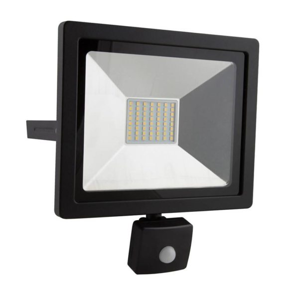 EUROLUX 30W LED Floodlight With Motion Sensor, 4000K, Black