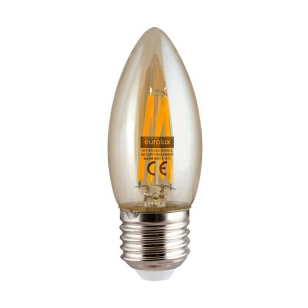 EUROLUX Amber LED Filament Candle, E27, 4W, Warm White