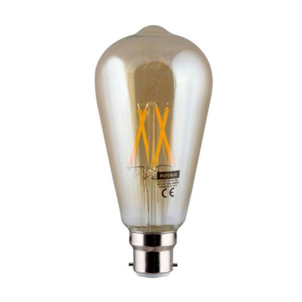 EUROLUX Amber LED Filament Pear, B22, 4W, Warm White