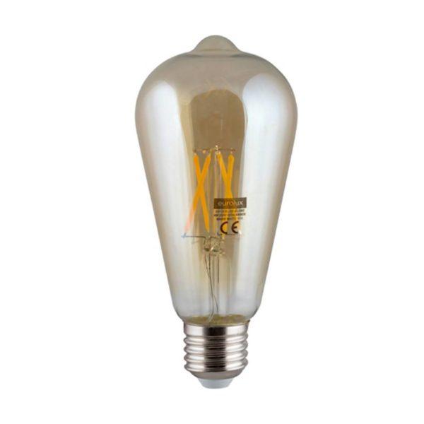 EUROLUX Amber LED Filament Pear, E27, 4W, Warm White