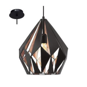 EUROLUX Carlton P703BC Pendant, 1 Light, Black & Copper