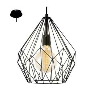 EUROLUX Carlton P704B Pendant, 1 Light, Black