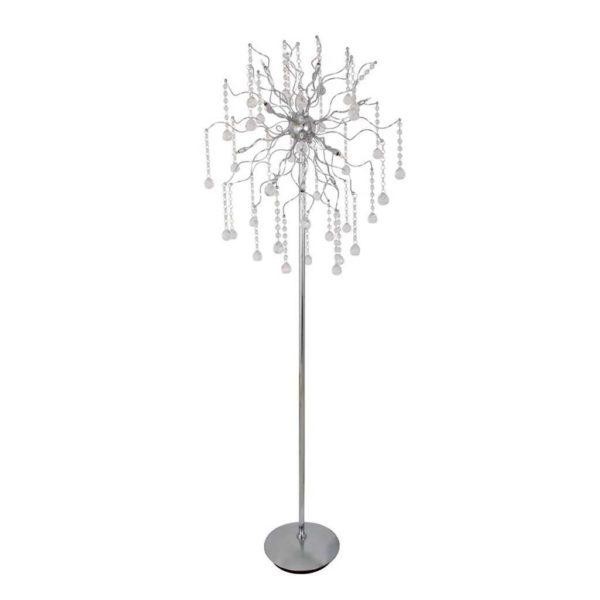 EUROLUX FL102 Meteor Crystal Floor Lamp, G4 Bi-Pin, 10W, Chrome