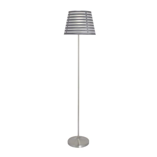 EUROLUX FL131 Floor Light, E27, 60W, Satin Chrome Base, Silver Fabric Slatted Shade