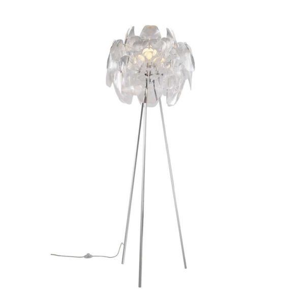 EUROLUX FL151 Peony Tripod Floor Light, E27, 60W, Chrome Base, Clear Acrylic Shade