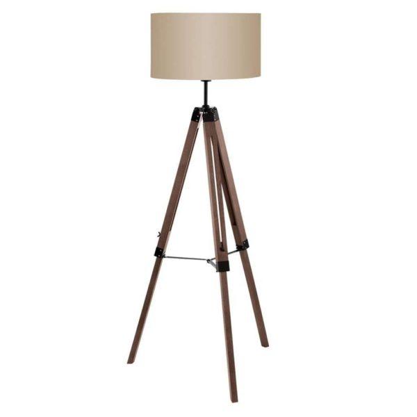 EUROLUX FL191NB Lantada Floor Light, E27, 60W, Natural Wood Base, Beige Shade