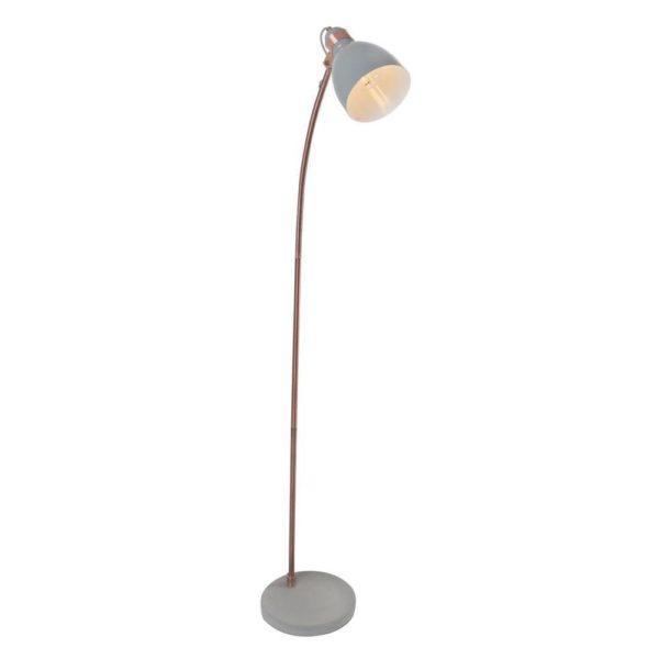 EUROLUX FL200 Floor Light, E27, 60W, Antique Copper Stem, Concrete Base, Grey Metal Shade