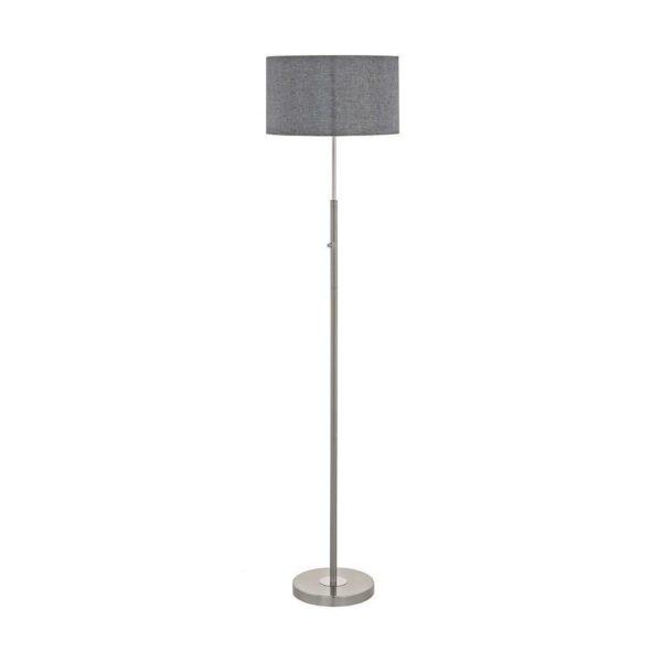 EUROLUX FL205 Romano Floor Light, 24W LED, Satin Chrome Base, Grey Fabric Shade