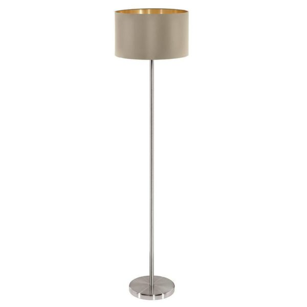 EUROLUX FL206TG Maserlo Floor Light, E27, 60W, Taupe & Gold