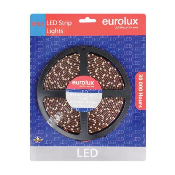 EUROLUX G649CW LED Strip Light, 5 meter, IP65 Water Resistant, 12V, Cool White