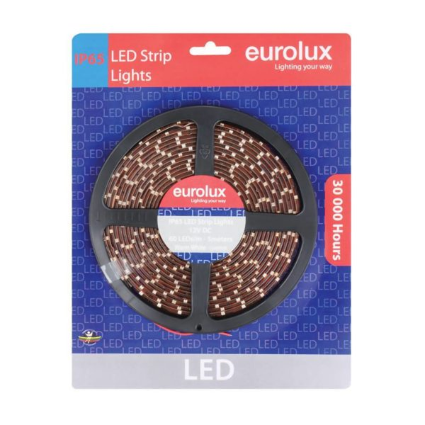 EUROLUX G649WW, 5m 3528 LED Strip, Warm White, 60 LED's Per Meter