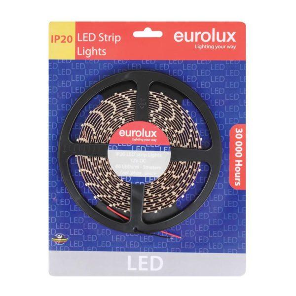 EUROLUX G654CW, 5m 3528 LED Strip, Cool White, 60 LED's Per Meter
