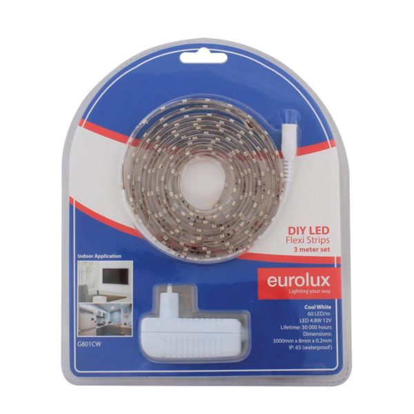EUROLUX G801CW DIY LED Strip, 3 Metres, 12V, Cool White