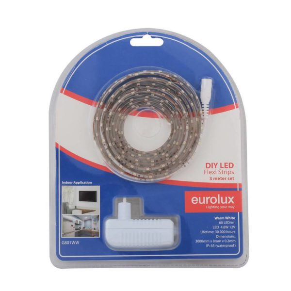 EUROLUX G801WW DIY LED Strip, 3 Metres, 12V, Warm White