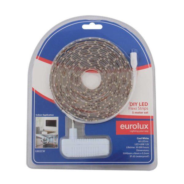 EUROLUX G802CW DIY LED Strip, 5 Metres, 12V, Cool White