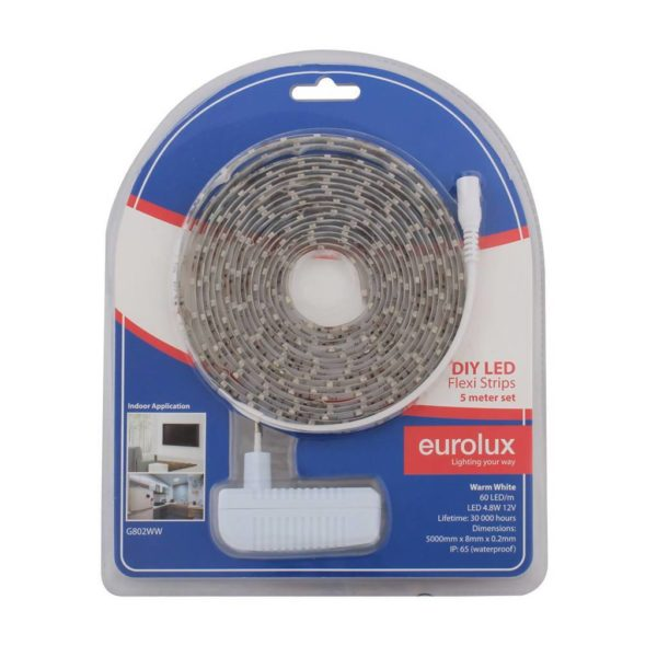 EUROLUX G802WW DIY LED Strip, 5 Metres, 12V, Warm White