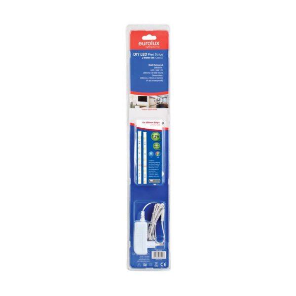 EUROLUX G803RGB DIY LED Strip, 4 x 500mm With Sensor & Remote, 12V, RGB (Red/Green/Blue)