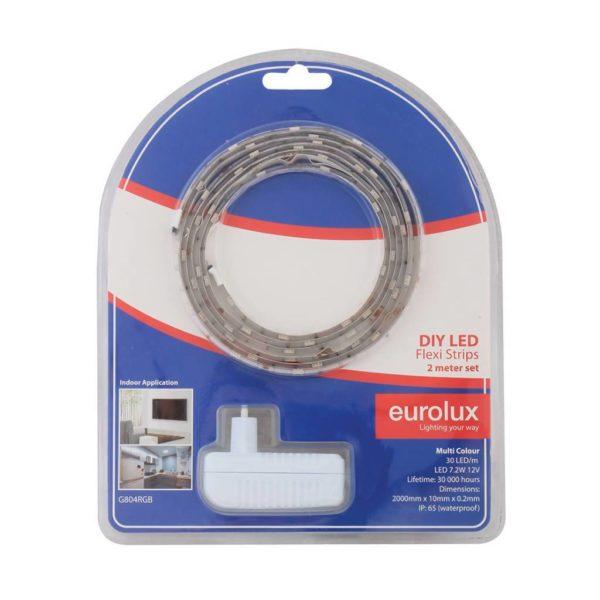 EUROLUX G804RGB DIY LED Strip With Sensor & Remote, 2 Metres, 12V, RGB (Red/Green/Blue)