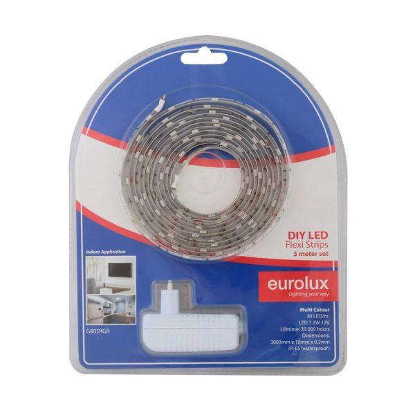 EUROLUX G805RGB DIY LED Strip With Sensor & Remote, 3 Metres, 12V, RGB (Red/Green/Blue)