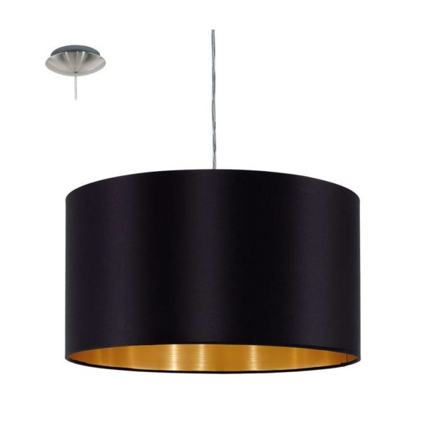 EUROLUX Maserlo P711B Pendant, 1 Light, Black & Gold